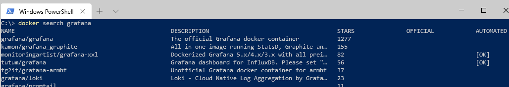working docker search command